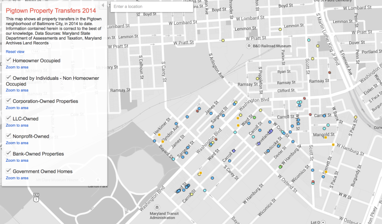 2014 map of Pigtown Property Transfers created by Housing Policy Watch